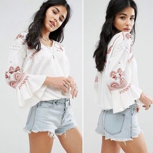 NWOT Free people Chiquita embroidered blouse M